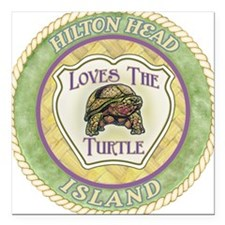 "Hilton Head Turtle Square Car Magnet 3"" x 3"""