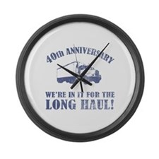 40th Anniversary Humor (Long Haul) Large Wall Cloc