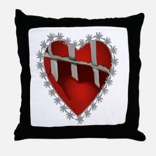 Caged, Barbed Heart Throw Pillow