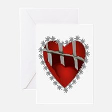 Caged, Barbed Heart Greeting Cards (Pk of 10)