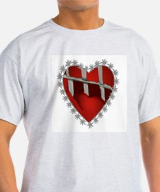 Caged, Barbed Heart Ash Grey T-Shirt