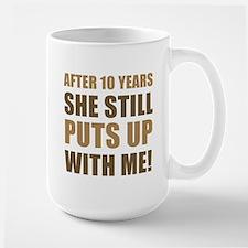 10th Anniversary Humor For Men Large Mug