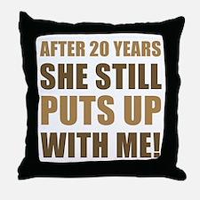 20th Anniversary Humor For Men Throw Pillow