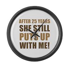 25th Anniversary Humor For Men Large Wall Clock