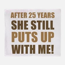 25th Anniversary Humor For Men Throw Blanket