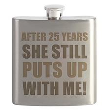 25th Anniversary Humor For Men Flask