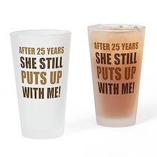 25th Anniversary Humor For Men Drinking Glass