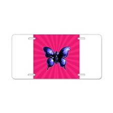 Purple Butterfly on Pink Aluminum License Plate