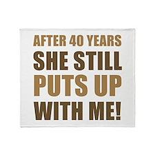 40th Anniversary Humor For Men Throw Blanket
