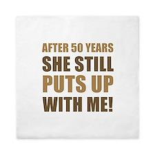 50th Anniversary Humor For Men Queen Duvet