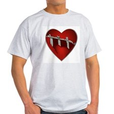 Broke, Screaming Caged Heart Ash Grey T-Shirt