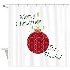 Merry Christmas Feliz Navidad Shower Curtain