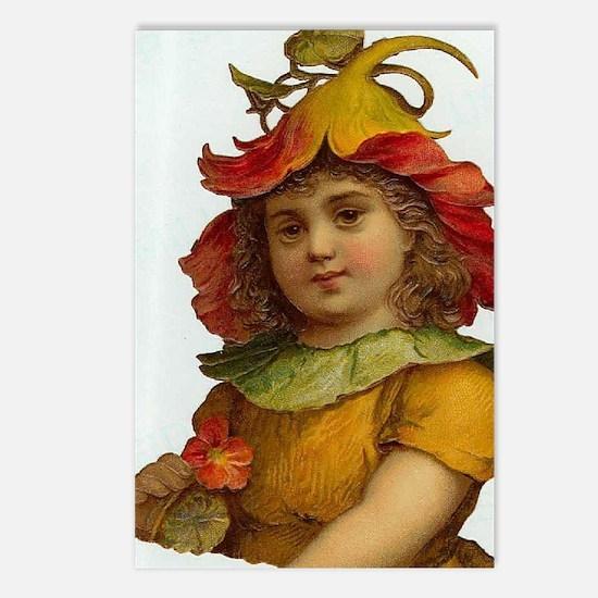 Victorian Orange Flower Fairy Girl Postcards (Pack