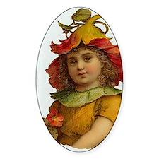 Victorian Orange Flower Fairy Girl Oval Decal