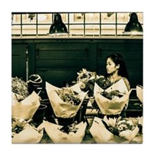 Pike Place Flower Girl Tile Coaster