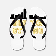 BOSTON STRONG GOLD AND BLACK Flip Flops