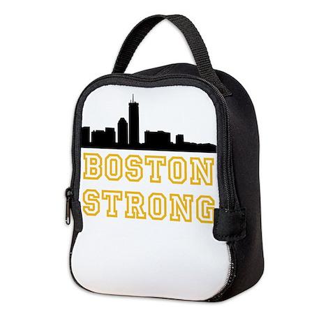 BOSTON STRONG GOLD AND BLACK Neoprene Lunch Bag