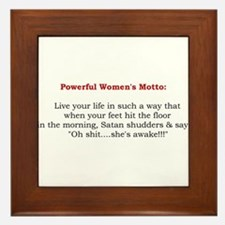 Powerful Women's Motto Framed Tile