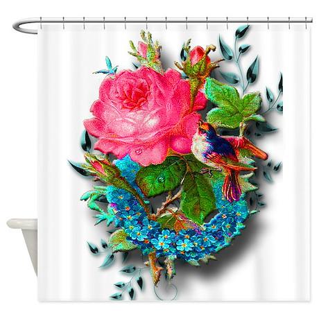 Birds nest fantasy garden shower curtain by fantasticallyyours for Fantasy shower curtains