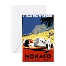Antique 1935 Monaco Grand Prix Race Poster Greetin