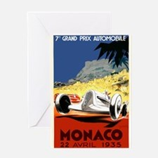 Antique 1935 Monaco Grand Prix Race Poster Greetin