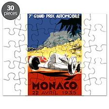 Antique 1935 Monaco Grand Prix Race Poster Puzzle
