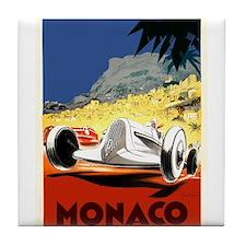 Antique 1935 Monaco Grand Prix Race Poster Tile Co