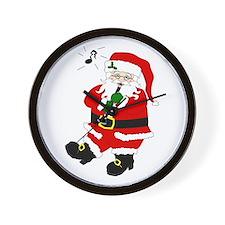 Santa Plays Clarinet Christmas Wall Clock