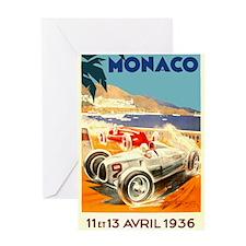 Antique 1936 Monaco Grand Prix Race Poster Greetin