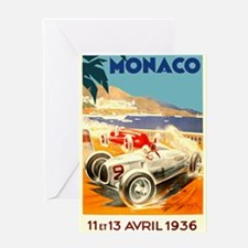 Antique 1936 Monaco Grand Prix Race Poster Greetin