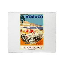Antique 1936 Monaco Grand Prix Race Poster Throw B