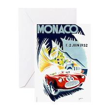 Antique 1952 Monaco Grand Prix Race Poster Greetin