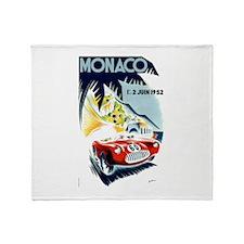 Antique 1952 Monaco Grand Prix Race Poster Throw B