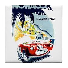 Antique 1952 Monaco Grand Prix Race Poster Tile Co
