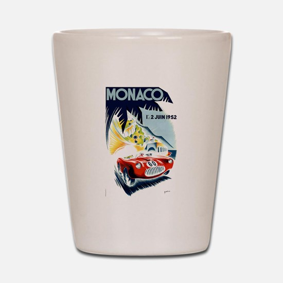 Antique 1952 Monaco Grand Prix Race Poster Shot Gl