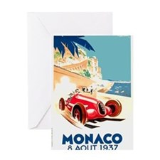 Antique 1937 Monaco Grand Prix Race Poster Greetin