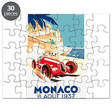 Antique 1937 Monaco Grand Prix Race Poster Puzzle