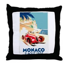 Antique 1937 Monaco Grand Prix Race Poster Throw P