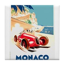 Antique 1937 Monaco Grand Prix Race Poster Tile Co