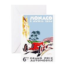 Antique 1934 Monaco Grand Prix Race Poster Greetin