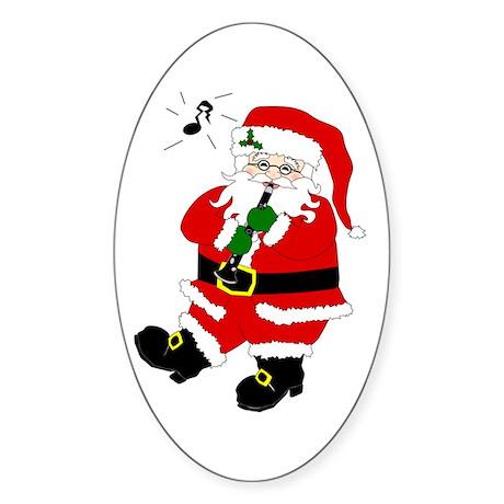 Santa Plays Clarinet Oval Sticker