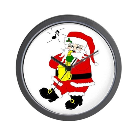 Santa Plays Sax Christmas Wall Clock