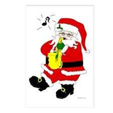 Santa Plays Sax Christmas Postcards (Package of 8)