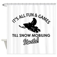 Snow Mobiling designs Shower Curtain