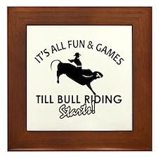 Bull Riding designs Framed Tile