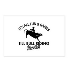 Bull Riding designs Postcards (Package of 8)
