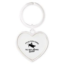Bull Riding designs Heart Keychain