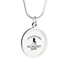 Hockey designs Silver Round Necklace