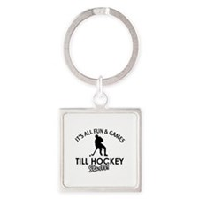 Hockey designs Square Keychain