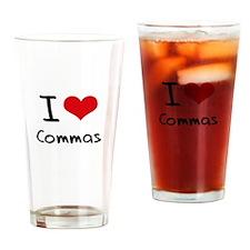 I love Commas Drinking Glass